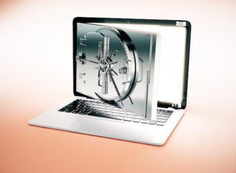 Close up of laptop computer with abstract open bank vault door on screen. Light background. Online banking concept. 3D Rendering