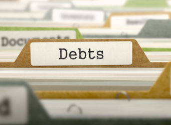 Debts - Folder Register Name in Directory. Colored, Blurred Image. Closeup View. 3D Render.